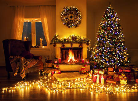 Beautiful decorated living room with a christmas tree and a ...