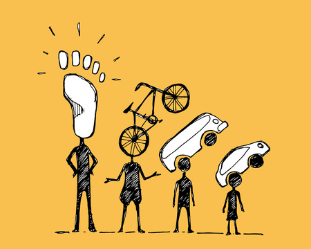 Illustration pour Hand drawn vector illustration or drawing of some people with urban mobility symbols - image libre de droit