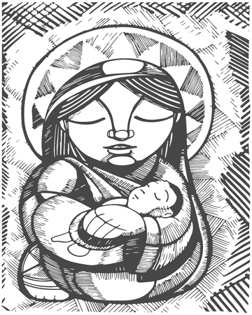 Hand drawn illustration or drawing of Virgin Mary Mother and Baby Jesus Christ, in an indigenous style