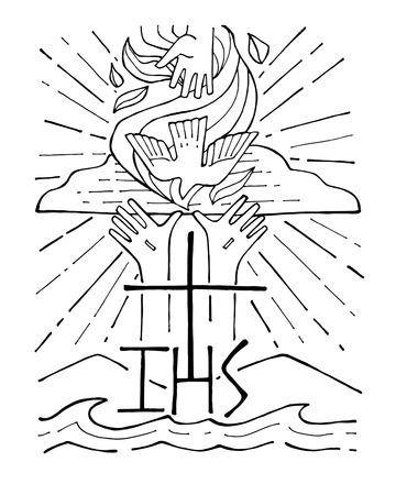 Illustration pour Hand drawn vector illustration or drawing of The Holy Trinity - image libre de droit