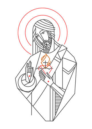 Ilustración de Hand drawn vector illustration or drawing of Jesus Christ Sacred Heart - Imagen libre de derechos