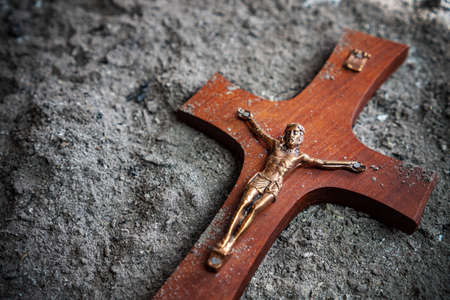 Photo for christian cross symbol in the ash religious easter concept - Royalty Free Image