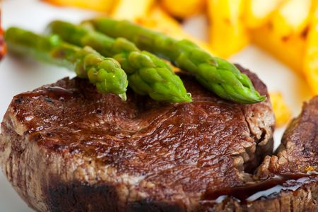 Photo for grilled steak with green asparagus - Royalty Free Image