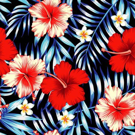 Illustration for Red and pink hibiscus flower on a background of palm leaves and plumeria in a trendy blue style. Hawaiian tropical natural floral seamless pattern - Royalty Free Image