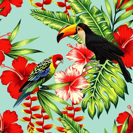 Illustration for Tropic bird toucan and multi color parrot on the background exotic flower hibiscus and palm leaf. Print summer floral plant. Nature animals wallpaper. - Royalty Free Image