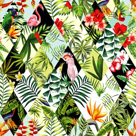 Illustration for Exotic beach trendy seamless pattern, patchwork illustrated floral tropical banana leaves, hibiscus flower, lilies, plumeria. Jungle parrots and pink flamingos Wallpaper print background mosaic - Royalty Free Image
