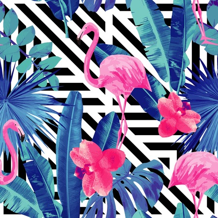 Illustration for Watercolor tropic pink flamingos and orchid with of trendy blue floral plant jungle palm banana leaf Wallpapers paradise beach summer bird seamless pattern. Black and white geometric background - Royalty Free Image