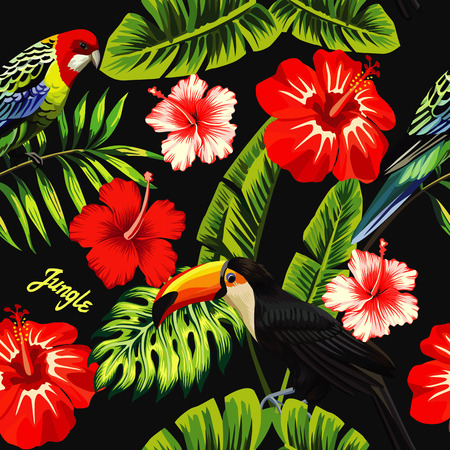 Illustration for Tropic bird toucan and multicolor parrot on the background of palm banana leaf, red and white exotic hibiscus flowers with slogan jungle. Print summer floral plant wallpaper. Seamless vector pattern - Royalty Free Image