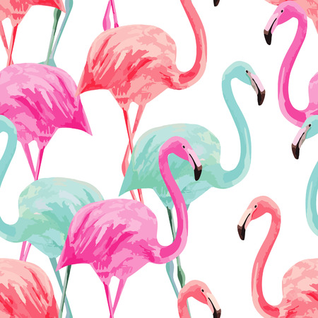 Illustration pour Composition of the trendy summer nature bird red, pink, blue flamingos. Hand drawn watercolor. - image libre de droit