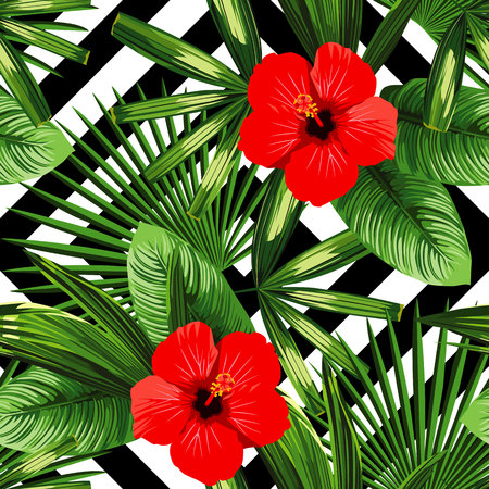Illustration for Print summer exotic jungle plant tropical palm leaves and flower red hibiscus - Royalty Free Image