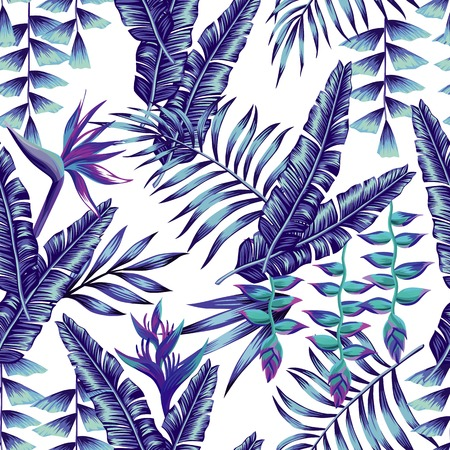 Ilustración de Tropical flower seamless pattern print wallpaper summer plant a banana palm leaves in trendy blue style. - Imagen libre de derechos