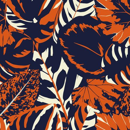Foto de Abstract vintage composition colorful leaves seamless floral pattern background - Imagen libre de derechos