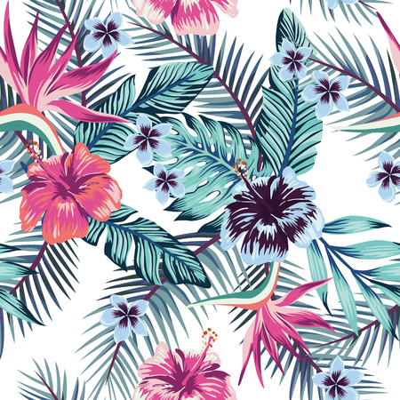 Illustration for Flowers of the bird of paradise, hibiscus, plumeria and palm leaves in the jungle in abstract color. Seamless vector beach wallpaper pattern on white background - Royalty Free Image