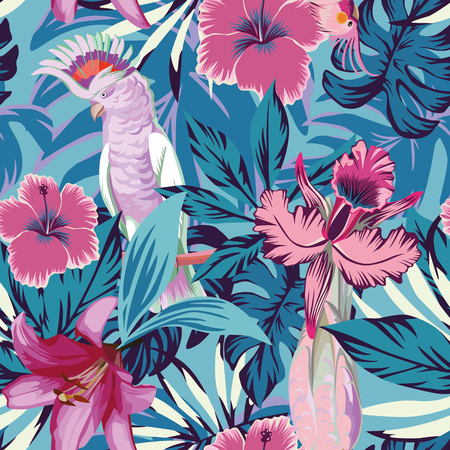 Ilustración de Pink parrot tropical flowers and plants blue background. Seamless beach vector wallpaper - Imagen libre de derechos