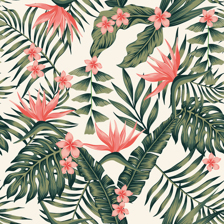 Ilustración de Beach cheerful seamless pattern wallpaper of tropical dark green leaves of palm trees and flowers bird of paradise (strelitzia) plumeria on a light yellow background - Imagen libre de derechos