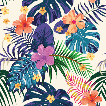 Illustration for Tropical abstract color print. Flowers and leaves beach wallpaper Jungle exotic background - Royalty Free Image