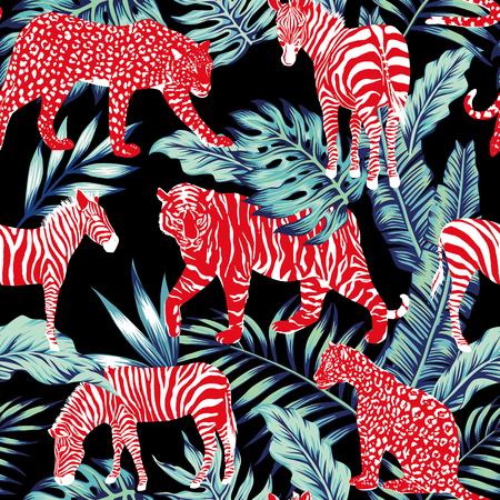 Red wild animal in the jungle on the dark night