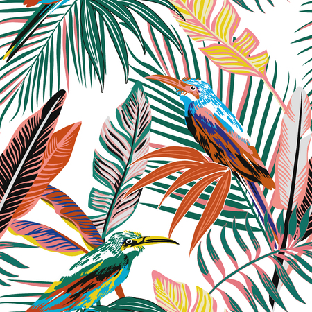 Ilustración de Abstract color tropical birds in the jungle seamless background. Beach palm leaves vector pattern wallpaper - Imagen libre de derechos