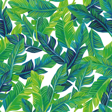 Illustration for Tropical palm leaves seamless pattern vector background. Exotic beach art print on the white background - Royalty Free Image