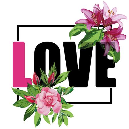 Illustration pour Slogan love vector rose flowers t-shirt print white background - image libre de droit