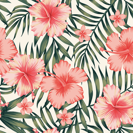 Illustration pour Tropical flower with palm leaves seamless pattern - image libre de droit