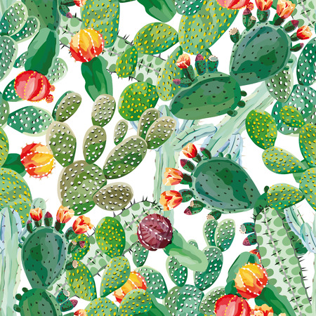 Illustration for Cactus vector seamless pattern - Royalty Free Image
