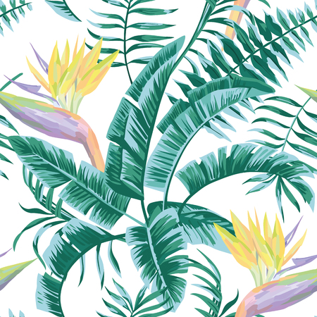 Illustration pour Exotic composition flowers Bird of paradise leaves in blue green color tropical beach seamless pattern - image libre de droit