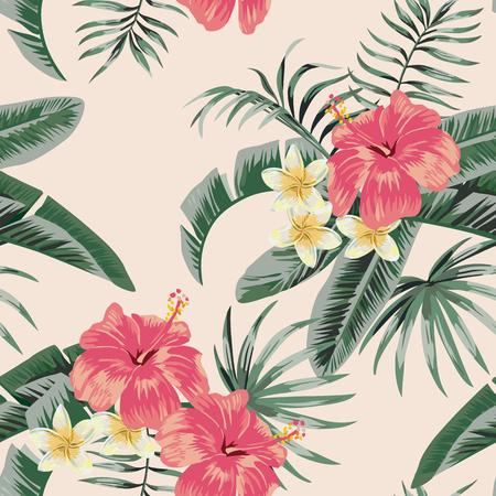 Illustration pour Flowers vector plumeria and hibiscus flower leaves tropical beach background seamless pattern - image libre de droit