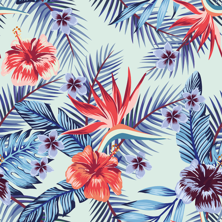 Illustration for Blue style hibiscus plumeria flowers palm banana leaves seamless vector pattern light background. Beach wallpaper fabric trendy design - Royalty Free Image