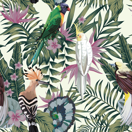 Illustration pour Tropical birds parrot, exotic jungle plants leaves flowers abstract pastel color seamless white background. - image libre de droit