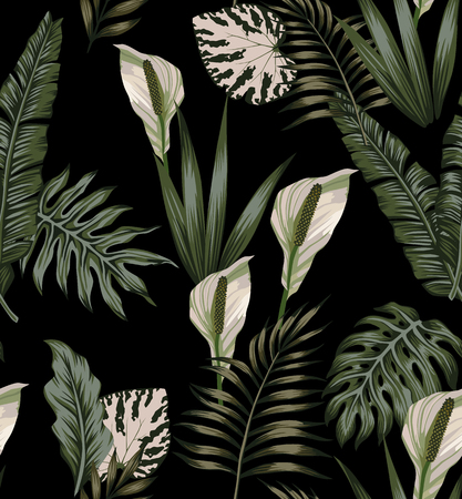 Illustration for Night jungle tropical composition white flowers seamless pattern - Royalty Free Image