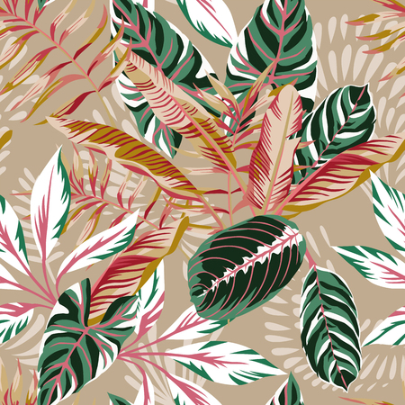 Illustration for Tropical exotic leaves seamless beige background. Vector summer pattern autumn illustration - Royalty Free Image
