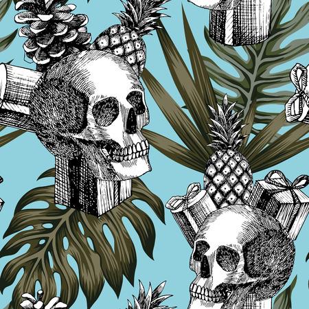 Ilustración de Hand drawn pencil skull gifts pineapple cone tropical leaves blue background seamless trendy pattern composition - Imagen libre de derechos