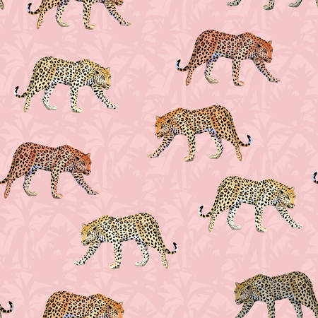Ilustración de Illustration going Leopard pink leaves seamless pattern tropical botanical background - Imagen libre de derechos