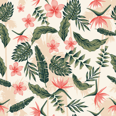 Illustration for Tropical plants and flowers green pink colors sheme seamless palm background. Trendy composition botanical nature beach wallpaper - Royalty Free Image
