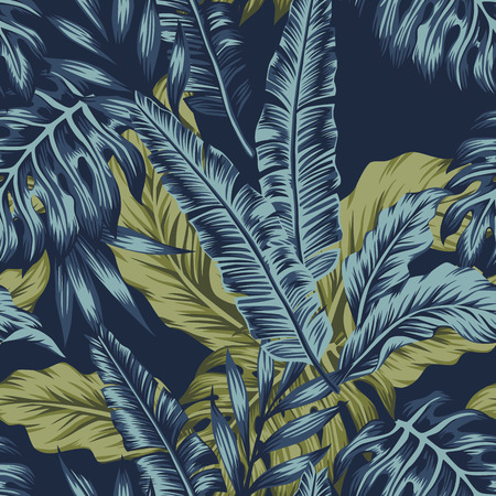 Illustration for Tropical palm green leaves seamless pattern dark blue background. Vector tropic illustration - Royalty Free Image