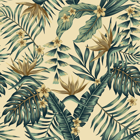 Illustration pour Tropical leaves and gold flowers seamless  cheerful pattern wallpaper of palm trees and bird of paradise (strelitzia) plumeria on a beige background - image libre de droit