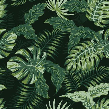 Illustration pour Tropical evening summer jungle leaves seamless pattern. Vector spring illustration - image libre de droit