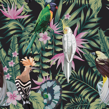 Illustration for Tropical birds parrot, hoopoe, plants leaves flowers frangipani (plumeria) abstract color black background. Seamless vector pattern - Royalty Free Image