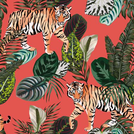 Ilustración de Seamless vector composition realistic tiger in the tropical jungle on the trendy living coral background - Imagen libre de derechos