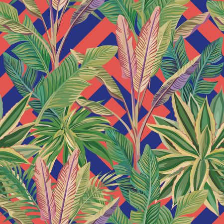 Illustration pour Exotic realistic tropical green banana leaves and cactus seamless vector pattern. Abstract trendy living coral blue background - image libre de droit