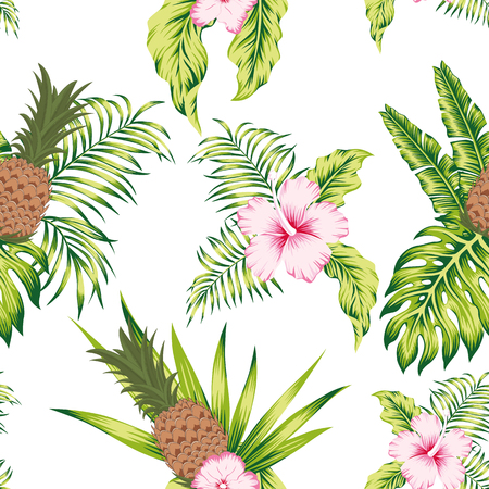 Illustration pour Trendy tropical botanical seamless vector pattern exotic trendy design hibiscus flowers, banana leaves and pineapple on the white background - image libre de droit