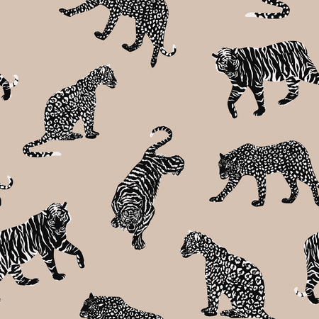 Illustration pour Black white wild animal tiger, panther, leopard, cheetah seamless pattern on the beige background. Trendy vector composition - image libre de droit
