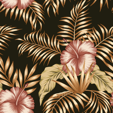 Exotic trendy seamless composition from tropical flowers hibiscus and palm, banana leaves gold tint on the black background