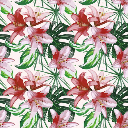Illustration pour Lily flowers and green tropical leaves seamless design on the white background. - image libre de droit