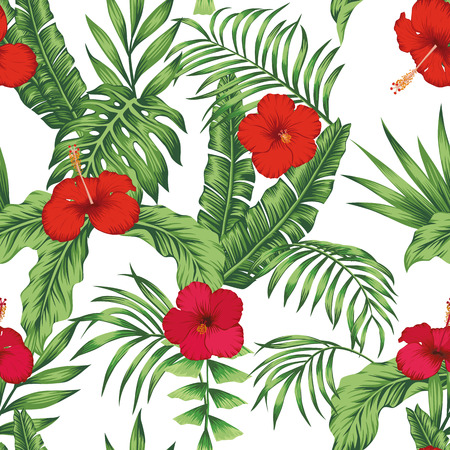 Illustration pour Exotic tropical flowers pink and red hibiscus, green monstera, palm leaves pattern seamless on the white background. Beach vector wallpaper - image libre de droit