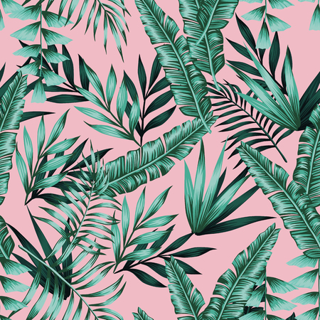 Illustration for Tropical vector realistic green leaves seamless pattern pink background. Exotic trendy wallpaper - Royalty Free Image