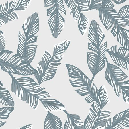 Illustration for Tropical illustration realistic vector banana leaves seamless pattern gray style. Modern wallpaper - Royalty Free Image