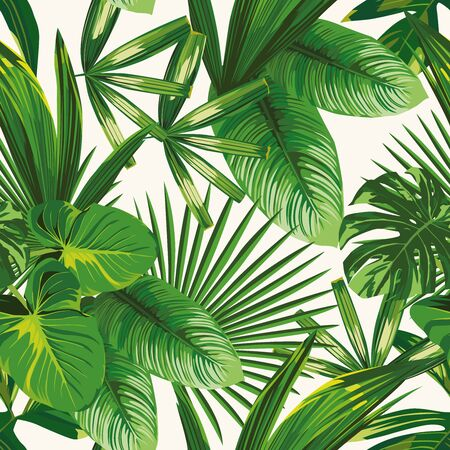 Illustration pour Exotic tropical natural green leaves vector composition on white background. Beach seamless pattern wallpaper - image libre de droit