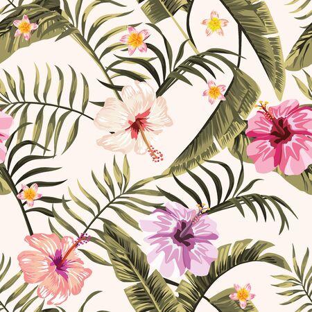 Illustration pour Exotic tropical palm, fern leaves, vivid hibiscus, plumeria flowers seamless pattern on the white background. Jungle vector floral wallpaper. - image libre de droit
